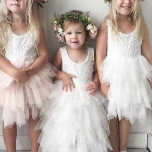 5b1634d5737 Baby Kids Flower Girls Lace Tutu Dress Wedding Bridesmaid Party ...