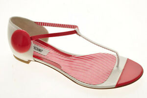 New-MOSCHINO-Women-Leather-T-Strap-White-Open-Toe-Thong-Sandal-Shoe-Sz-6-M-Italy