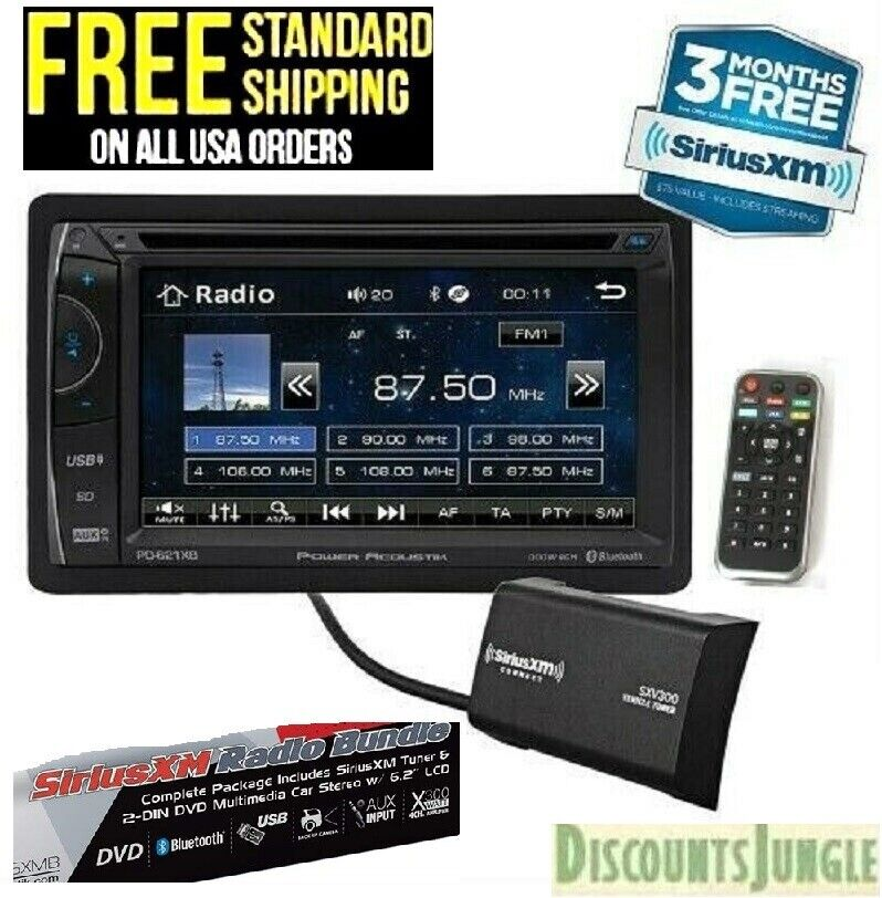Power Acoustik Ph 620sxmb Double Din Cd Dvd Player 6 2 Lcd