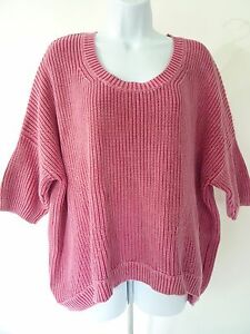 BCBGeneration-Womens-Pink-Chunky-Knit-Crew-Neck-Sweater-size-M