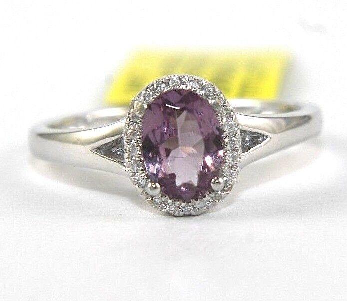 Oval Purple Garnet & Diamond Halo Solitaire Ring 14k White gold 1.00Ct