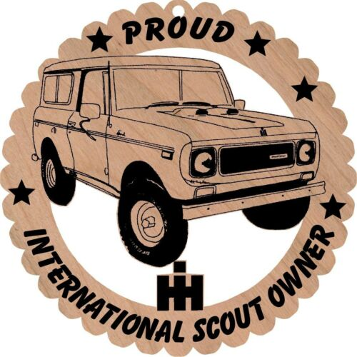 International Scout Full Cab Wood Ornament Engraved Large 5 3//4 Inches Round