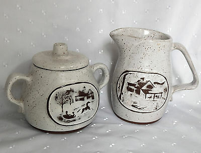 American speckled milk jug and sugar bowl with lid Onion River Pottery Winooski