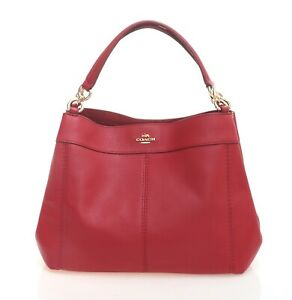 NWT-COACH-Small-LEXY-Leather-Shoulder-Bag-Tote-True-Red-Gold-Luxury-F23537-IMDN8