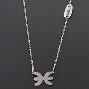 .925 STERLING SILVER RHODIUM PLATED 17 INCH ZODIAC SYMBOL HOROSCOPE NECKLACE