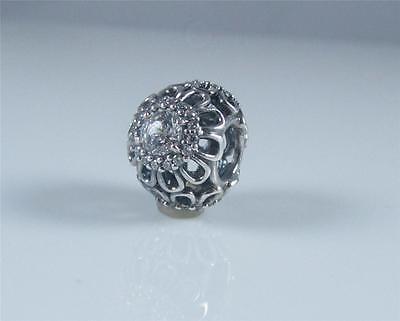 Genuine Authentic New Pandora Silver Clear Floral Brilliance Charm 791260CZ