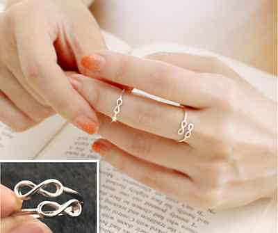 Women Fashion Lovely Silver Plated Double 8 shape Midi Knuckle Rings New