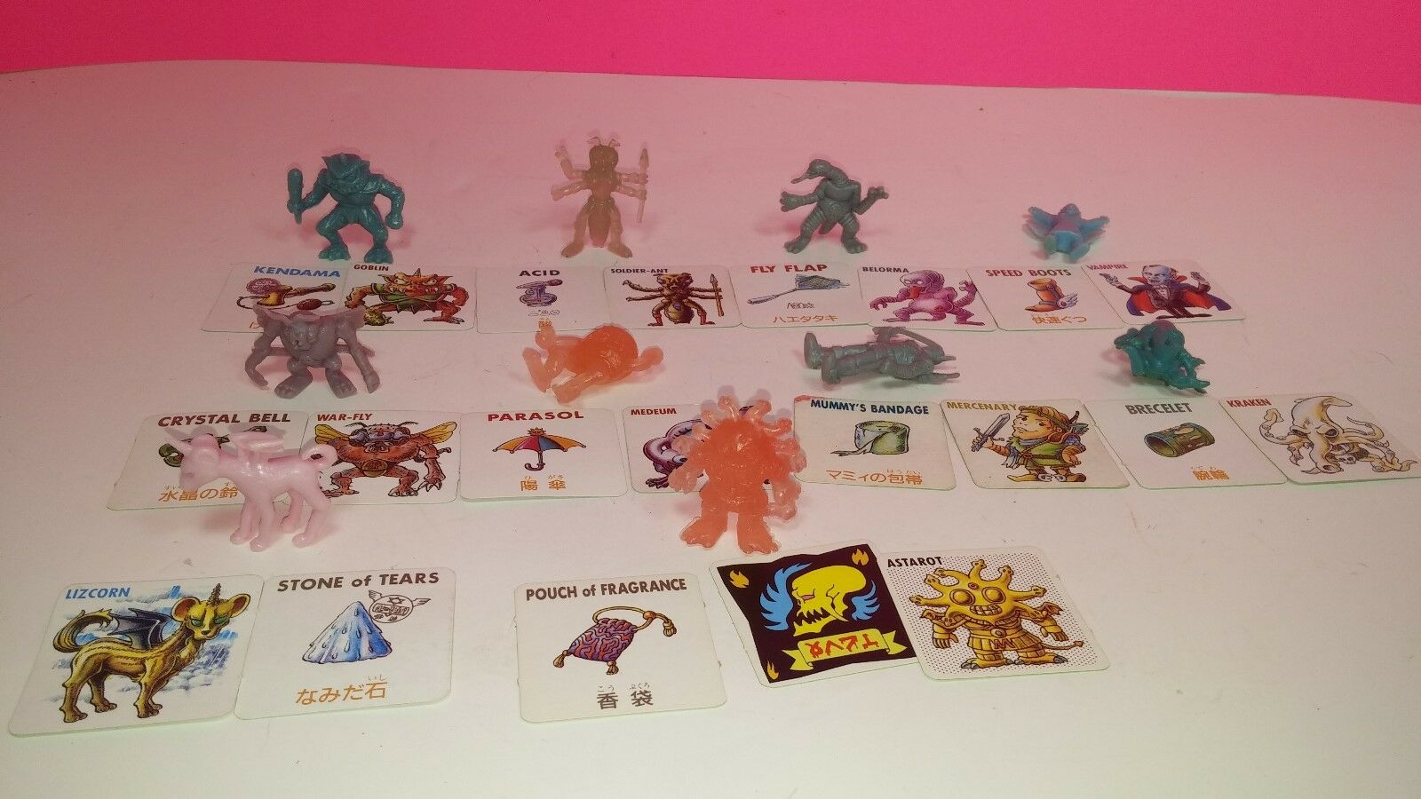 Neclos Fortress Japan Mini Rubber Vintage Action Figure Lot with Cards Kraken