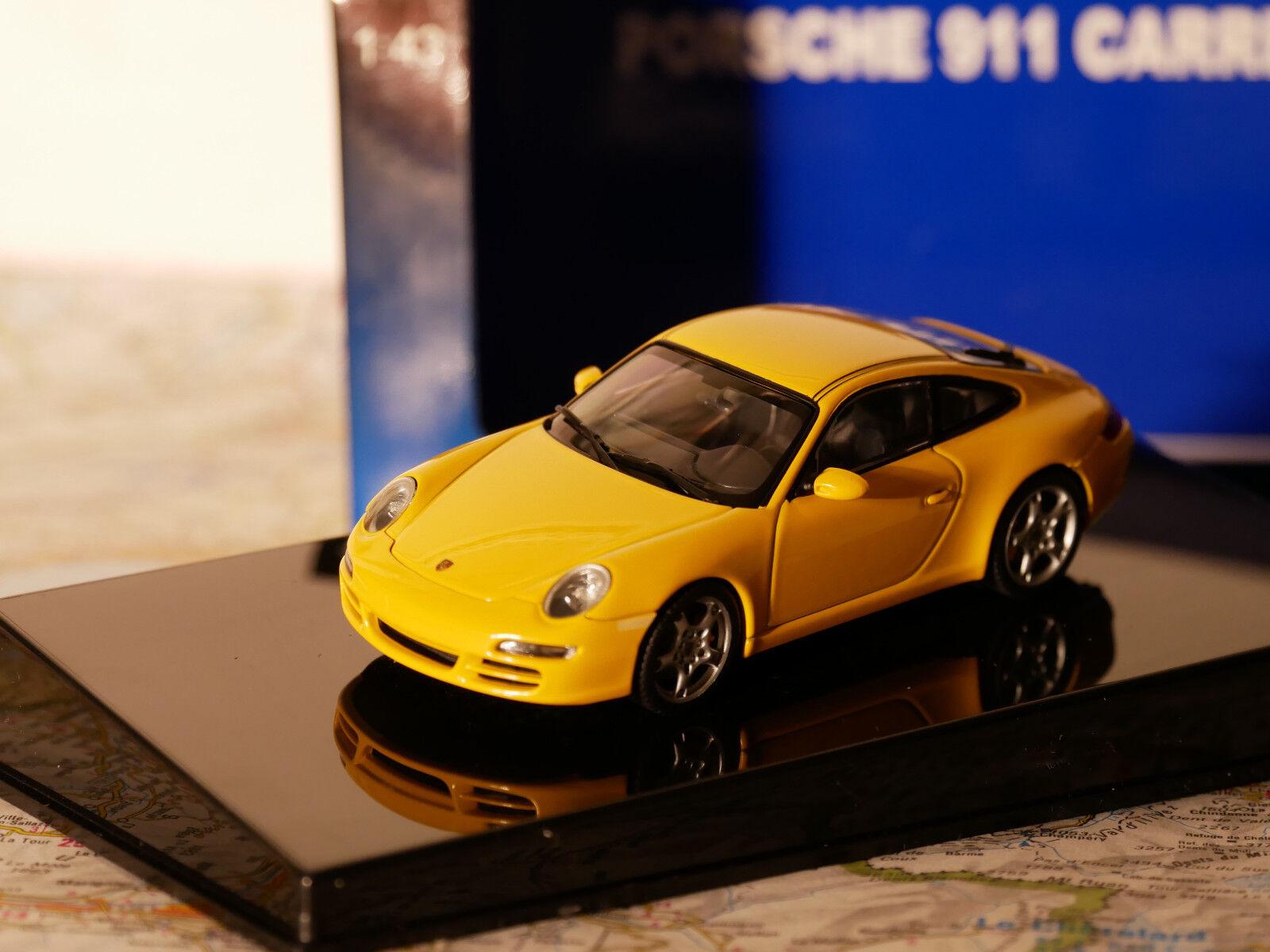 AUTO ART PORSCHE 911 ( 997) CARRERA S 1 43 + BOX YELLOW ART.57882  NEW DIE-CAST