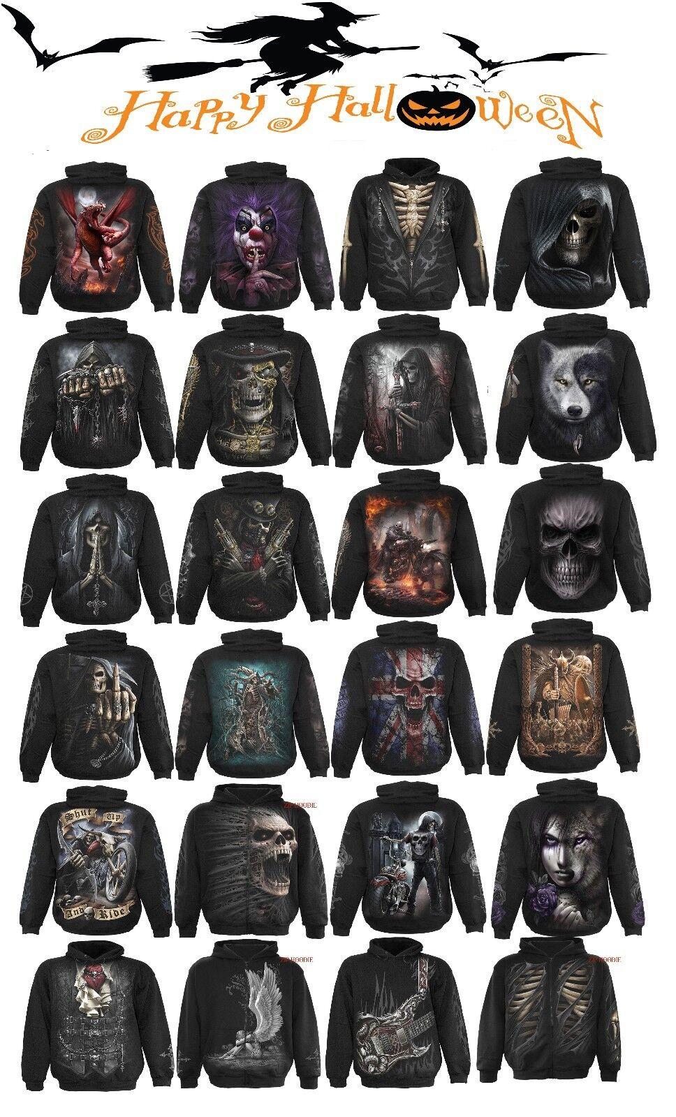 SHUSpiral Direct HALLOWEEN Grim Reaper Steam Punk Gothic Biker Dark Wear Hoodies