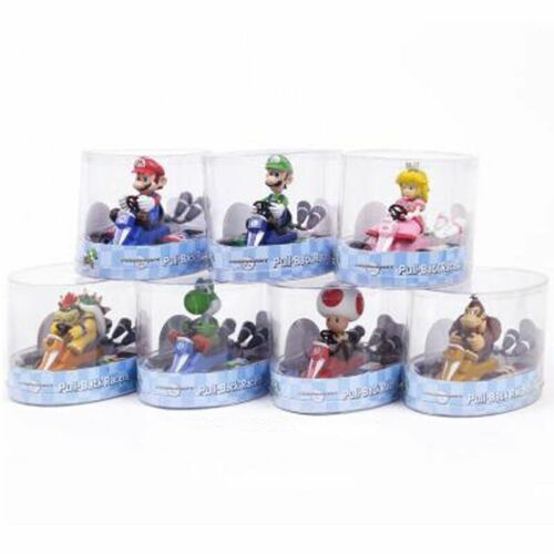 Gifts Super Mario Kart Princess Peach Pull Back Figure Car PVC Toy Collection