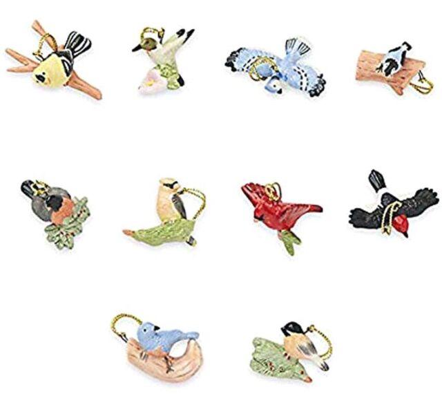 LENOX GARDEN BIRD 10 miniature Tree Ornaments set NEW in BOX mini
