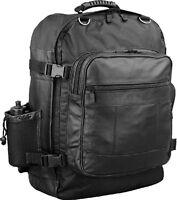 Motorcycle Sissy Bar Travel Bag Back Pack Leather & Nylon Bag W/ Bottle Black