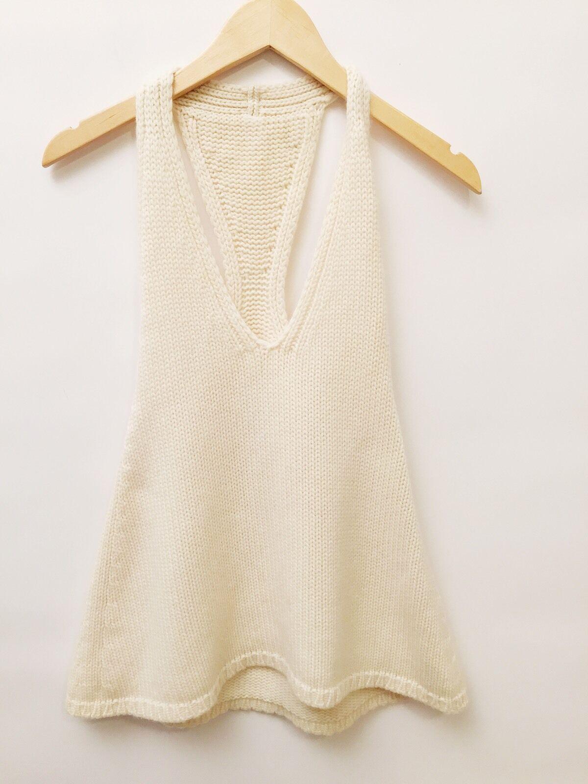 Small Cream Knit Halter Top