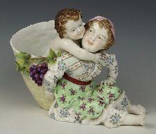 "Antique 19C Dresden Volkstedt figurine vase ""Mother and Son"" WorldWide"