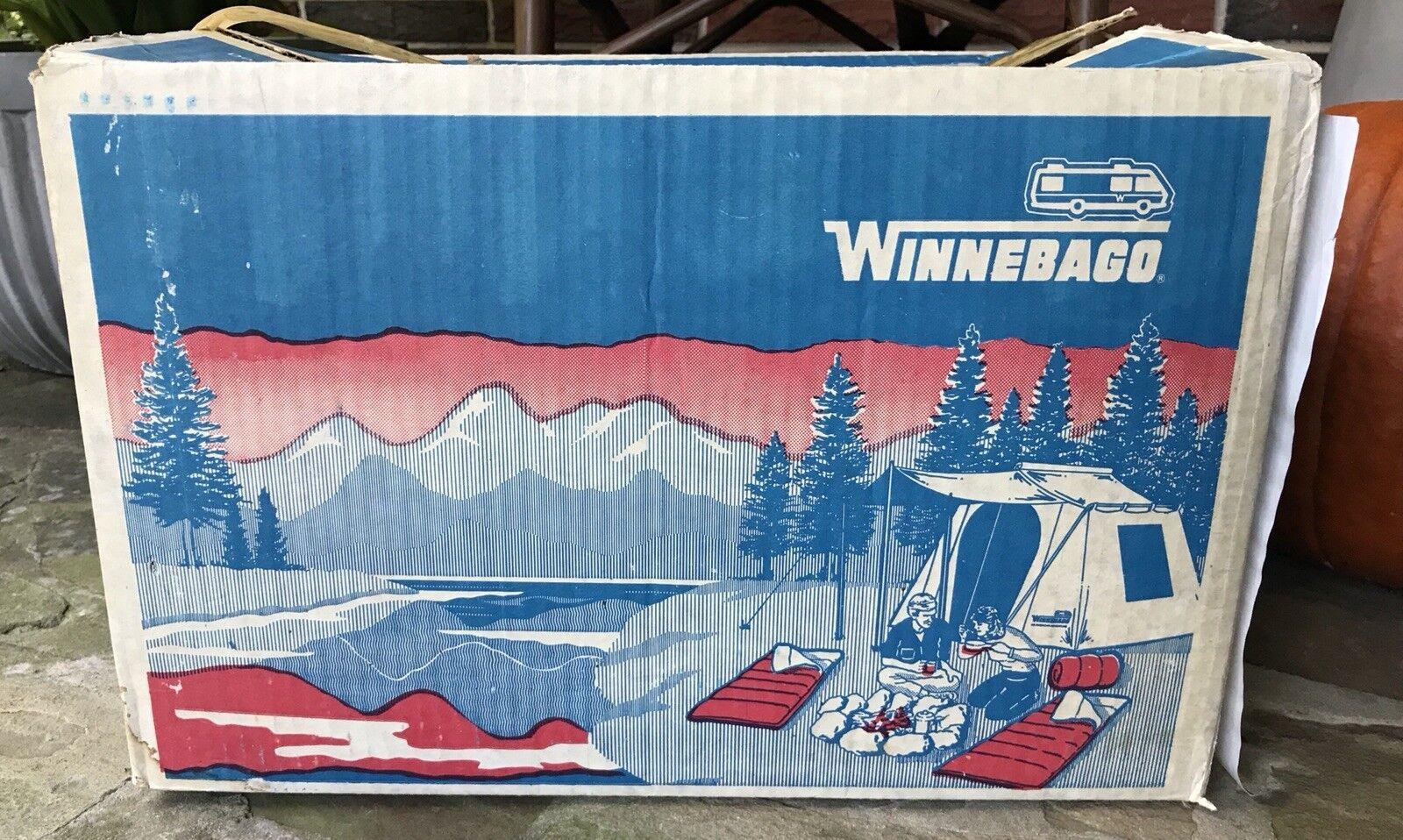 "NIB RARE Vintage WINNEBAGO SLEEPING BAG IN ORIGINAL  BOX 33"" x 75"" 3 lbs BURGUNDY  just for you"