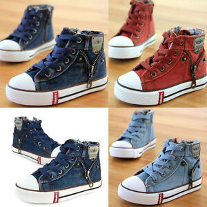 Hot Kids Boys Girl High Top Canvas Shoes Children Casual Fashion ... 1a4da37edbd3