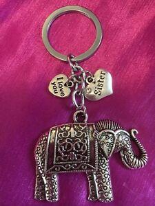 Sister-PERSONALISED-Gift-Elephant-Keyring-Bag-Charm-Organza-Gift-Bag-FREEPOST