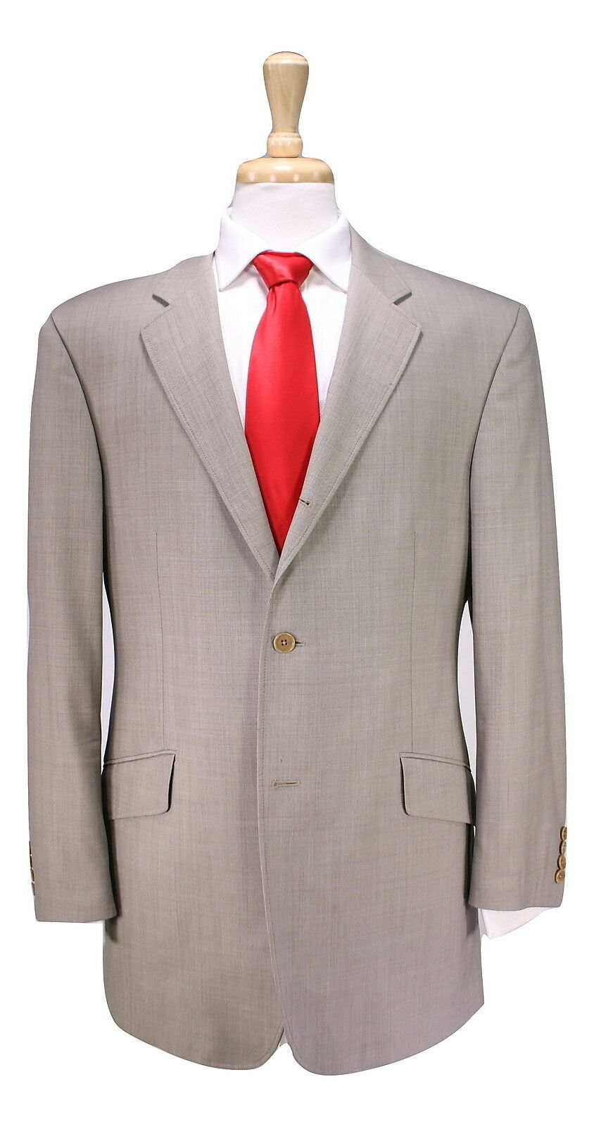 JOHN VARVATOS  Recent Solid Beige 2-Btn ITALY Wool Luxury Suit 40R