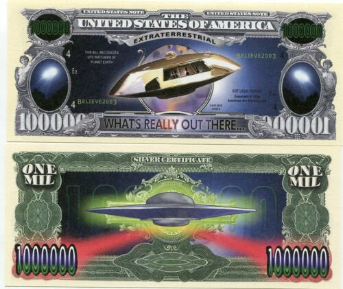 UNITED STATES USA 1 MILLION DOLLAR BILLS UFO EXTRATERRESTRIAL UNC