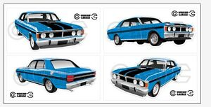New-Collectable-FORD-FALCON-XY-GT-HO-351-STICKER-PACK-True-Blue
