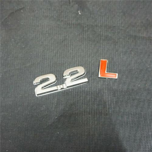 1PC Chrome 2.2L Red Metal Decal Badge Emblem Sticker Engine Car Edition Auto 3D