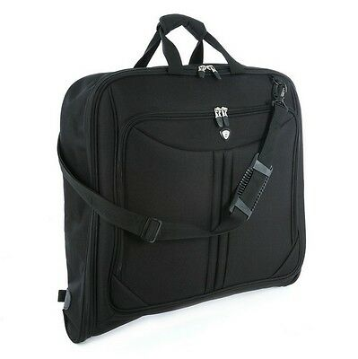 Olympia Deluxe Folding Travel Garment Bag Hanging Luggage Black G-7740