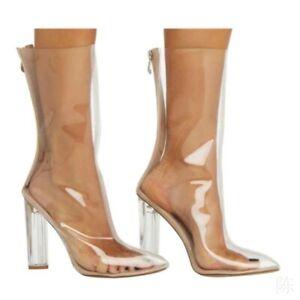 Trendy-Women-Back-Zip-Transparent-PVC-Pointy-Toe-Block-Heel-Mid-Calf-Boots-Party