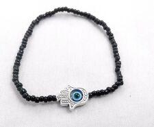 Hamsa Black beads Hand of Fatima Amulet KABBALAH LUCKY BRACELET Against Evil Eye
