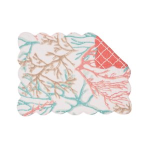OCEANAIRE Coral on White Quilted Reversible Beach,Coastal C/&F Placemat