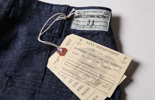Denim Lisière Pantalon Court Onewash Bronson WW2 USN deck Dungaree Short 10.5 OZ environ 297.66 g