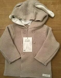 Details about Mothercare Peter Rabbit Beige Knitted Hooded Cardigan Age 3 6 Months BNWT