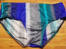 Speedo Mens Swimming Trunks Full Briefs Size 40 Xl New grey Blue retro vintage