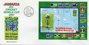 Jamaica 2007 FDC ICC Cricket World Cup Caribbean West Indies 1v S/S Cover Trophy