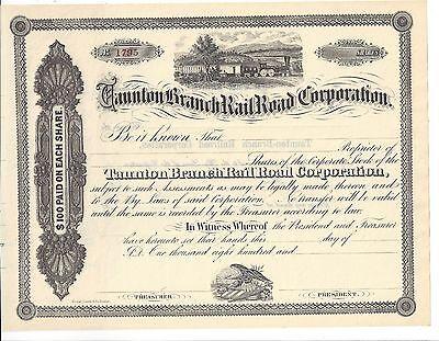 Taunton Branch Railroad Corporation Stock Certificate