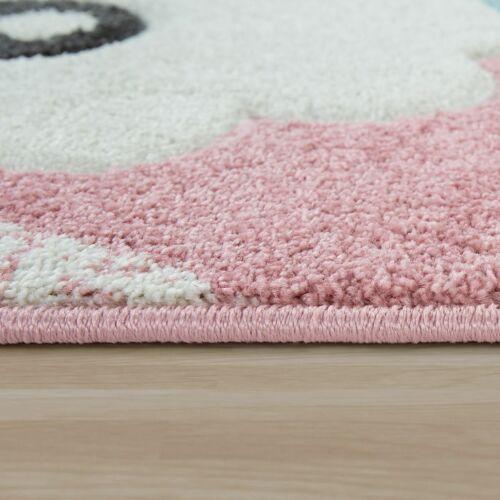 Kurzflor Kinderzimmer Spielteppich Alpaka Motiv Konturenschnitt 3D Effekt Pink