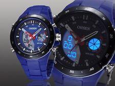 OHSEN Fashion Brand Blue Digital LED and Analog Display Unisex Sport Wristwatch