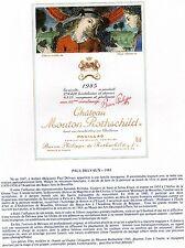 PAUILLAC 1E GCC LITHOGRAPHIE CHATEAU MOUTON ROTHSCHILD 1985  §06/03/17§