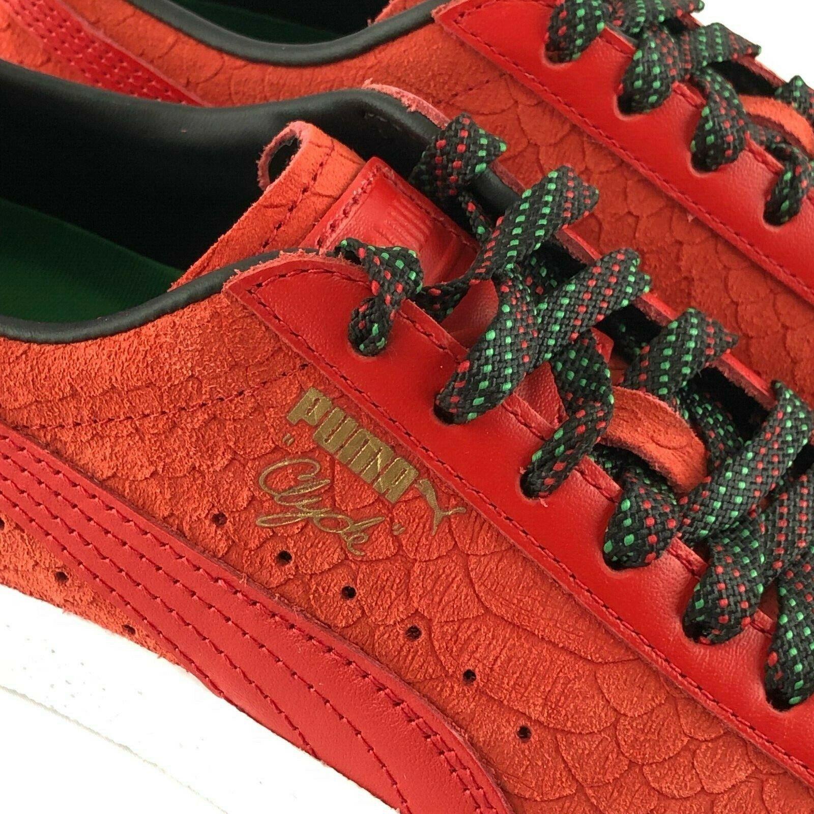 Puma Clyde rosso Suede Rasta donna scarpe Dimensione 8.5 8.5 8.5 Low Top Leather scarpe da ginnastica New 5294cd