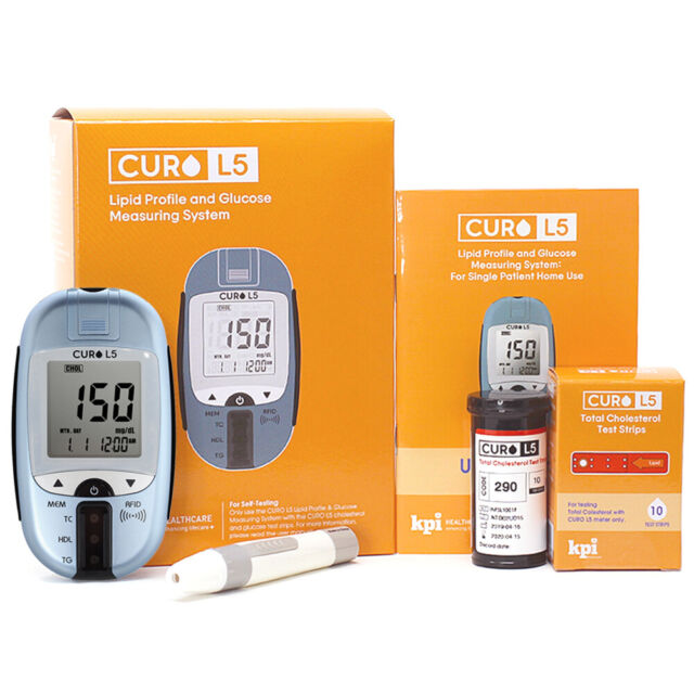 Blood Cholesterol Test Kit - Curo L5 Digital Meter - Self Home Testing  Monitor