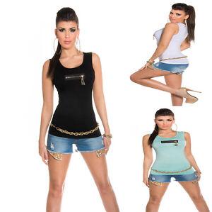 Maglietta-Donna-Spalline-Canottiera-Decorazione-Zip-Senza-Maniche-Jersey