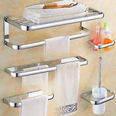 . Chrome Modern Bath Accessories Towel Bar Ring Toilet Bathroom Hardware Set  xz002   eBay
