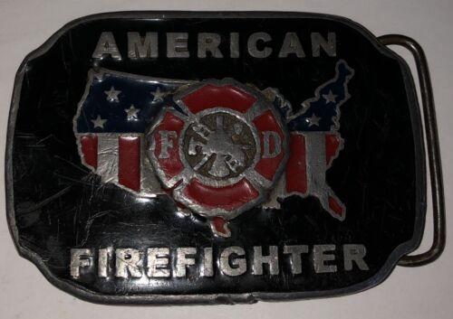 Belt Buckle FD Shield Fire Department Fire Hydrant Pewter Enamel Finish Bergamot