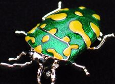 GREEN YELLOW CRAWLING FLEA TICK INSECT JUNE BUG STAG BEETLE PIN BROOCH JEWELRY
