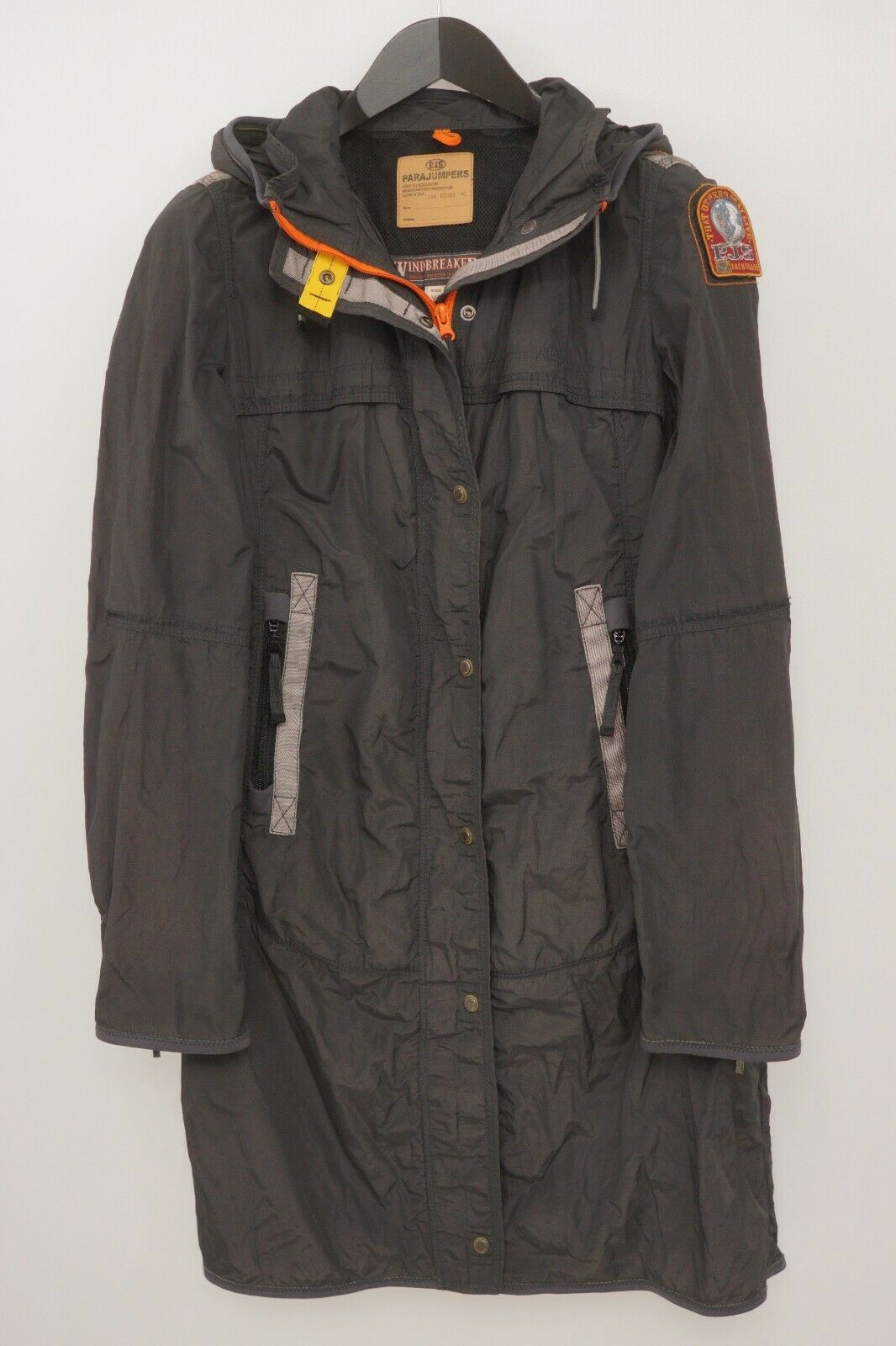 Women Parajumpers Coat Breathable Black Windbreaker Long M VAU642
