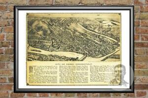 Old Map of Derby, CT from 1920 - Vintage Connecticut Art, Historic Decor