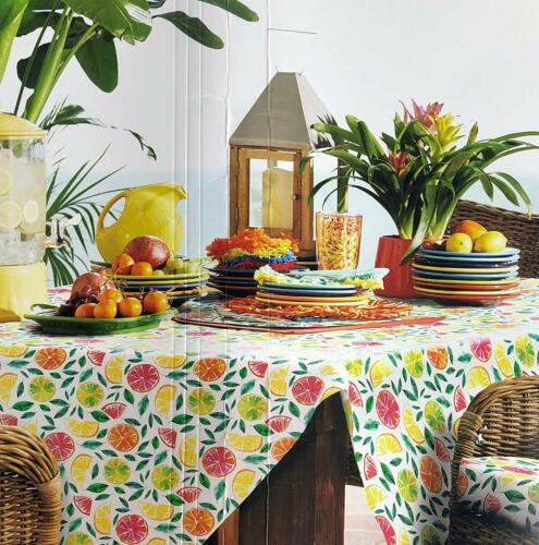 Fiesta Indoor Outdoor  Citrus Bliss Tablecloth Assorted Sizes 100/% Polyester
