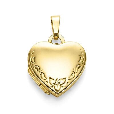 8 Kt Mädchen Frauen Herz Anhänger Echt Gold 333 mit Kette Silber 925 vergoldet