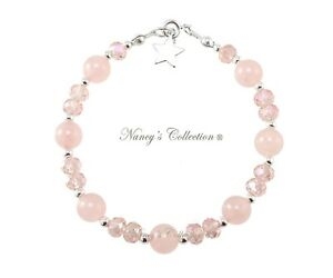 8mm-Rose-Quartz-amp-Sterling-Silver-Bracelet-with-Pendant-Nancy-039-s-Collection-Gift
