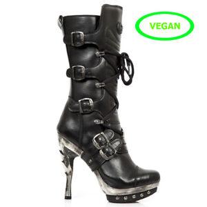 Newrock M.TR003 High Heel Leather Biker Boots
